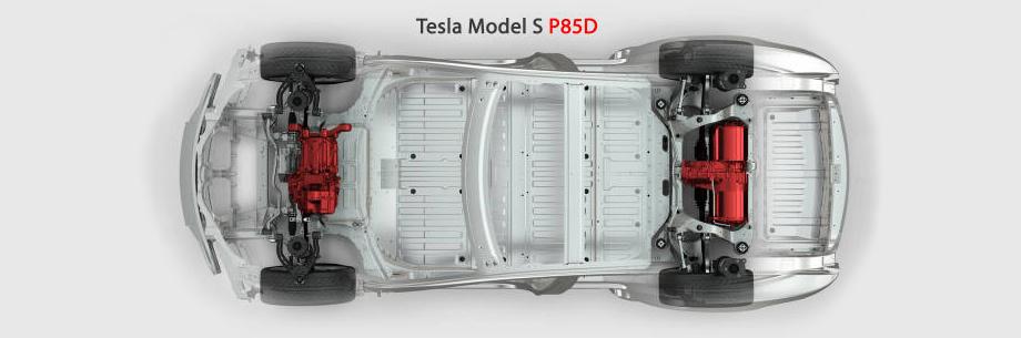 Полный привод Tesla Model S P85D