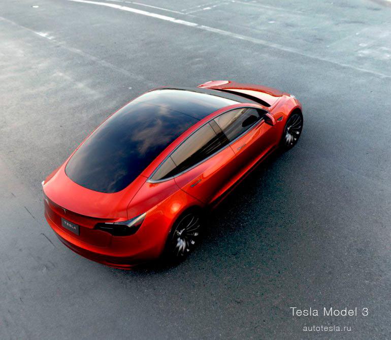Красная Tesla Model 3